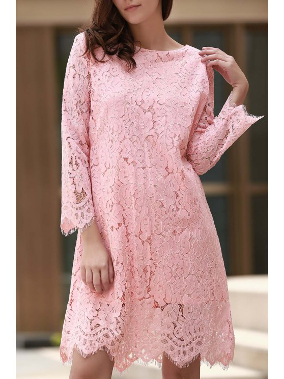 women's Lace Round Collar Long Sleeve Solid Color Dress - PINK M