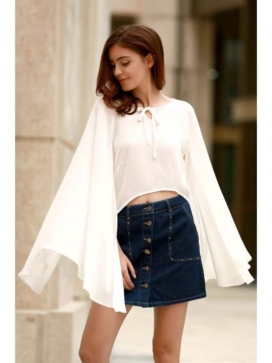 shop Lace-Up Cape Design Chiffon Crop Top - WHITE XL