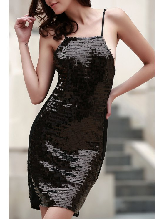 ladies Black Sequins Spaghetti Straps Bodycon Dress - BLACK L