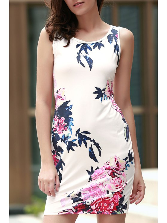 womens Floral Round Collar Sleeveless Bodycon Dress - WHITE XL