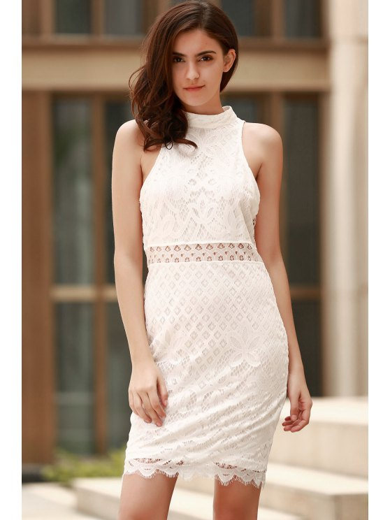 sale Mock Neck Guipure Lace Sheath Dress - WHITE M