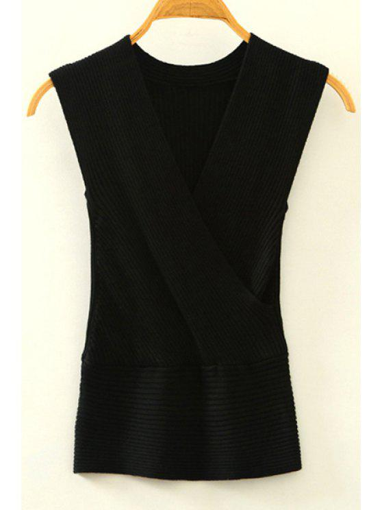 affordable Knitted V-Neck Crossed Tank Top - BLACK ONE SIZE(FIT SIZE XS TO M)