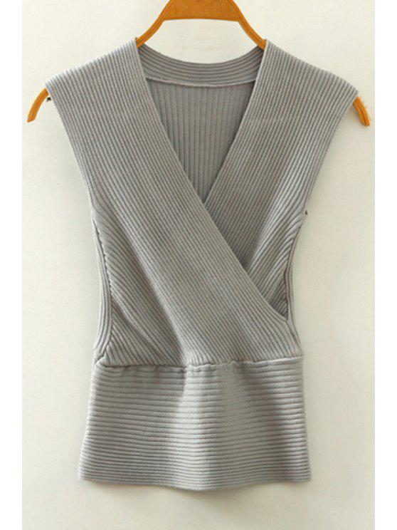 fancy Knitted V-Neck Crossed Tank Top - GRAY ONE SIZE(FIT SIZE XS TO M)