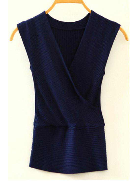 fashion Knitted V-Neck Crossed Tank Top - CADETBLUE ONE SIZE(FIT SIZE XS TO M)