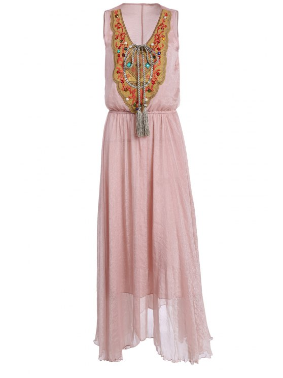 women Embroidered Jewelled Breezy Dress - PINK M