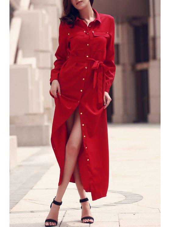 latest Long Sleeve Button Up Maxi Dress - RED L