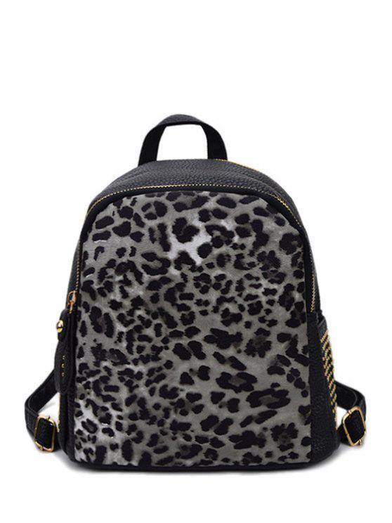 Sac à dos zippé imprimé léopard avec rivet - Noir