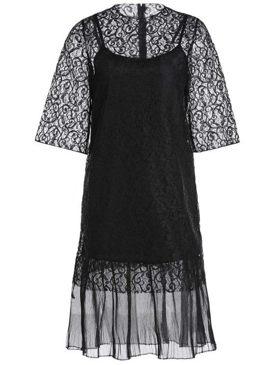 shop Openwork Lace Hook Dress + Camisole Dress Twinset - BLACK ONE SIZE(FIT SIZE XS TO M)