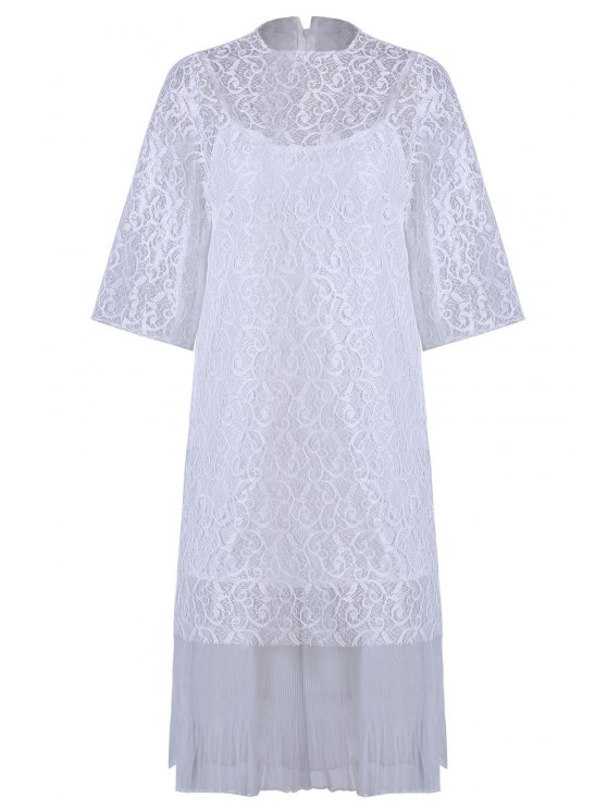 shops Openwork Lace Hook Dress + Camisole Dress Twinset - WHITE ONE SIZE(FIT SIZE XS TO M)
