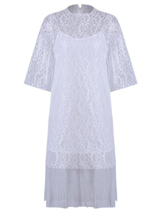 Höhles Spitze Haken Kleid + Leibchen Kleid Twinset - Weiß Einheitsgröße(Geeign