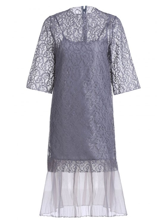outfits Openwork Lace Hook Dress + Camisole Dress Twinset - GRAY XXS