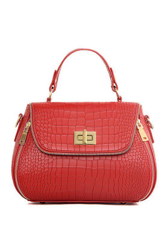 latest Zips Hasp Crocodile Print Tote Bag - WINE RED