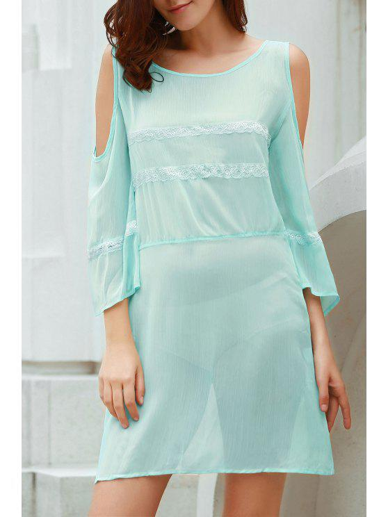 fancy Cut Out Lace Spliced Scoop Neck Flare Sleeve Dress - AZURE M