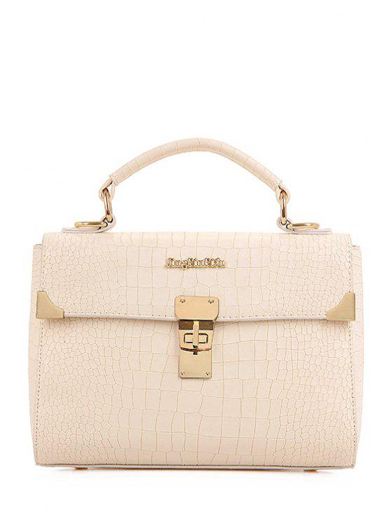 women's Metallic Letter Crocodile Print Tote Bag - OFF-WHITE