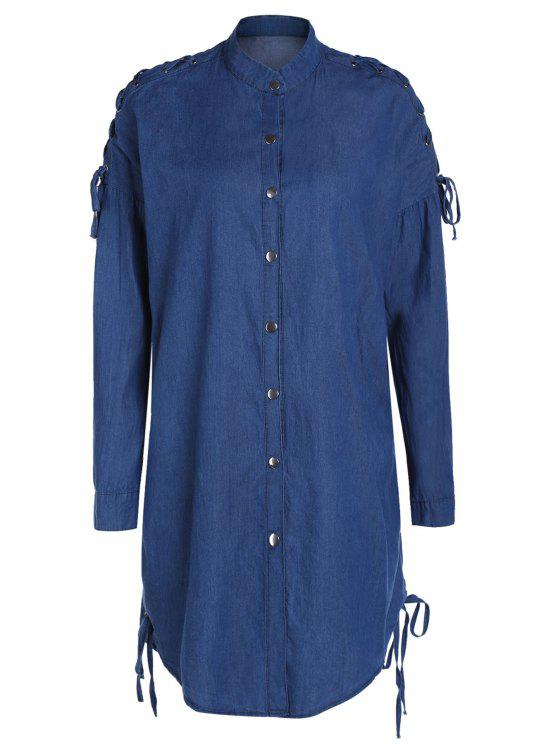Denim Stand Collar Lace Up Shirt Coat - Azul M