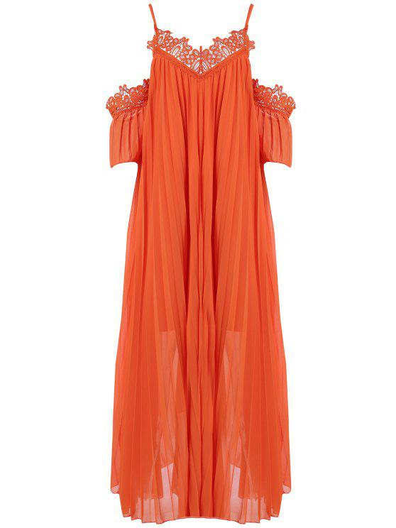 affordable Cold Shoulder Spaghetti Straps Solid Color Dress - ORANGE ONE SIZE(FIT SIZE XS TO M)