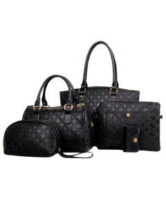 New Arrival PU Leather And Embossing Design Tote Bag For Women - Black