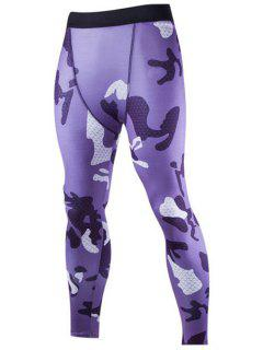 Camo Impresión De Argyle Permeable Al Aire Cintura Elástico Deportes Pantalones Flacos Para Los Hombres - Camuflaje L