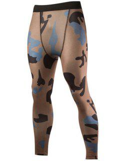 Camo Print Air Permeable Skintight Elastic Waist Fitness Pants For Men - Coffee Xl