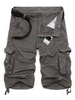 Color Sólido Multi-bolsillo De La Pierna Recta Con Cremallera Loose Fit Pantalones Cortos De Carga Para Los Hombres - Gris 38