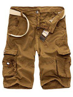 Solid Color Multi-Pocket Straight Leg Zipper Fly Loose Fit Cargo Shorts For Men - Earthy 29