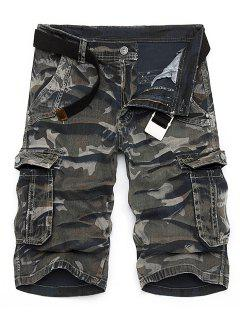 Camo Print Multi-Pocket Loose Fit Straight Leg Zipper Fly Cargo Shorts For Men - Camouflage 32