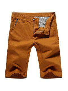 Casual Zip Fly Solid Color Shorts For Men - Earthy 32