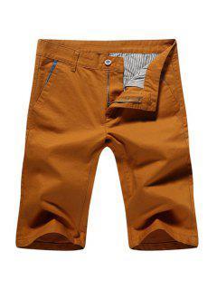 Zip Fly Casual Pantalones Cortos Color Sólido Para Los Hombres - Terroso 29