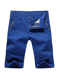 Casual Summer Zip Fly Straight Legs Shorts For Men - Blue 30