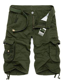 Solid Color Multi-Pocket Straight Leg Zipper Fly Loose Fit Cargo Shorts For Men - Army Green 30