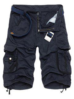 Solid Color Multi-Pocket Straight Leg Zipper Fly Loose Fit Cargo Shorts For Men - Deep Blue 32