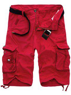 Solid Color Multi-Pocket Straight Leg Zipper Fly Loose Fit Cargo Shorts For Men - Red 34