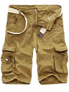 Solid Color Multi-Pocket Straight Leg Zipper Fly Loose Fit Cargo Shorts For Men - Khaki 34