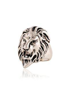 Punk Style Lion Head Shape Ring For Men - Silver One-size