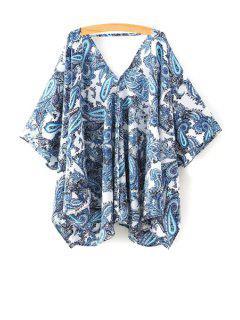 Kimono Blouse Imprimé Paisley à Manches 1/2 Sans Col - Bleu S