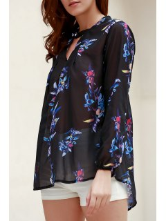 V-Neck Colorful Floral Print Long Sleeve Shirt - Black S