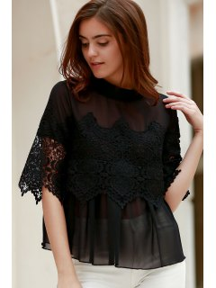 Lace Chiffon Splicing Round Neck 3/4 Sleeve Blouse - Black S