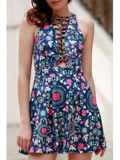 Flower Print Plunging Neck Sleeveless Dress - Blue Xl