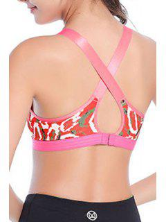 Stylish Strappy Print Cross Back Sport Bra For Women - Rose M