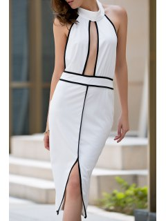 Backless Stand Collar Cut Out Dress - White M