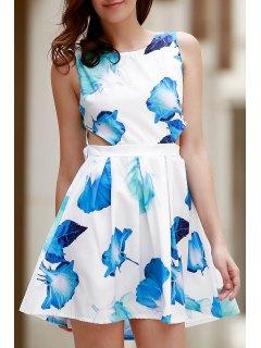 Bowknot Floral Print Round Neck Sleeveless Dress - Blue Xl