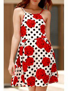 Backless Polka Dot Floral Print Cami Dress - Red Xl
