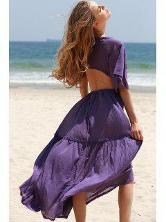 Open Back Tiered Flowing Dress - Purple L