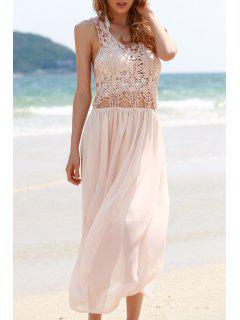 Dentelle En Mousseline De Soie Sans Manches Spliced ​​Maxi Dress - Rose Clair M