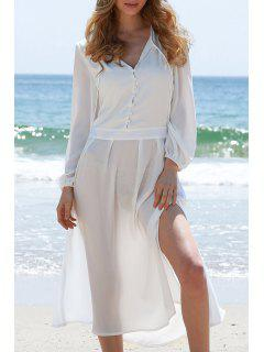 High Slit Plunging Neck Lantern Sleeve Dress - White M