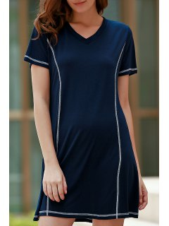 Loose Black V Neck Short Sleeve Dress - Purplish Blue Xl