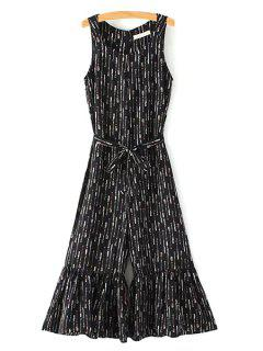 Belted Round Collar Sleeveless Printed Jumpsuit - Black L