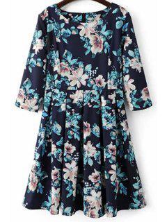 Beteau Neck Floral Print Midi Dress - Blue S