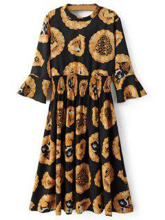 Jewel Neck Bell Sleeve Printed Dress - Black And Golden L
