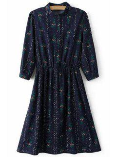 Minuscule Floral Waisted Robe Chemise - Bleu Violet L